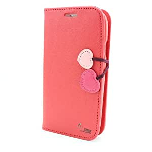 YEAH red leather cherry wallet credit card flip stand case cover for iphone 4 4g 4s