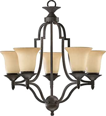 Quorum International 615-5-44 Chandeliers with Amber Scavo Shades, Toasted Sienna