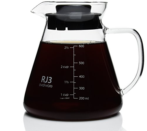 600ml Thick Range Coffee & Tea Server - Heatproof Glass Body with BPA-Free Lid for Hario V60 Ceramic and Glass Dripper, Kalita Wave, Melitta Pour Over Brewer And Other Stainless Steel Filter Stand
