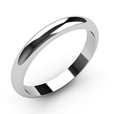 9ct White Gold Wedding rings 3mm Width D Shaped Band Heavy Weight.
