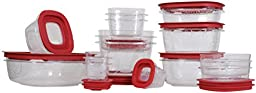Rubbermaid Premier food storage with Tritan plastic and Easy Fine Lids, Set of 28, Red, 1790516