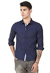 4Stripes Men's causal Bird Print Shirt (4SSH014_XXL_NAVY BLUE)