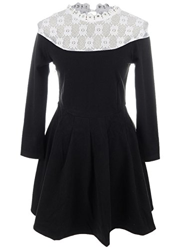 Anna-Kaci S/M Fit Black W/ White Lace Yoke Rhinestone Neck Knife Pleat Dress