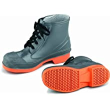 ONGUARD 87981 PVC/Nitrile Sureflex Men's Steel Toe WorkShoe with Saftey-Loc Outsole, Grey/Orange, Size 12