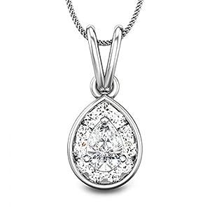 Candere Women's 0.53 CT Pearl Diamond Pendant In 925 Sterling Silver (Color I-J, Clarity SI, Brilliant Cut)