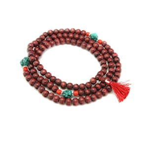 10mm Rosewood and Turquoise Prayer Beads Japa Mala (108 Beads Rosary)