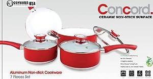 CONCORD 7 PC Eco Healthy Ceramic Nonstick Cookware Set