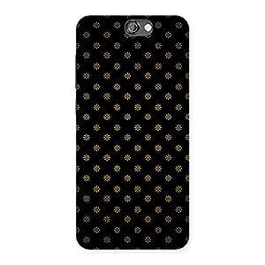 Impressive Golden Flower Black Back Case Cover for HTC One A9
