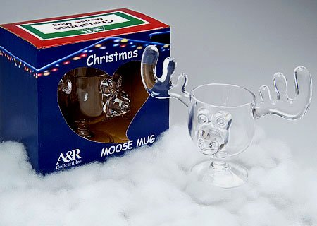Christmas Vacation Style Eggnog Moose Mugs - Gift Boxed Set of 4 - Safer Than Glass
