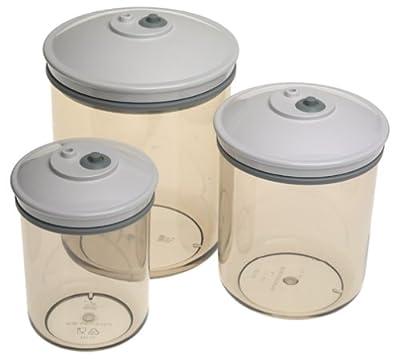 FoodSaver T02-0052-01 3/4-Quart, 1-1/2-Quart and 2-1/2-Quart Round Canister Set, 3-Pack from FoodSaver