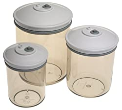 FoodSaver T02-0052-01 3/4-Quart, 1-1/2-Quart and 2-1/2-Quart Round Canister Set, 3-Pack