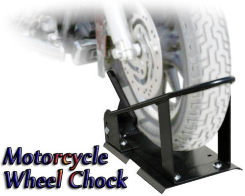 Heavy Duty Adjustable Motorcycle Scooter Wheel Chock Trailer Hold Down Bike Stand Mount