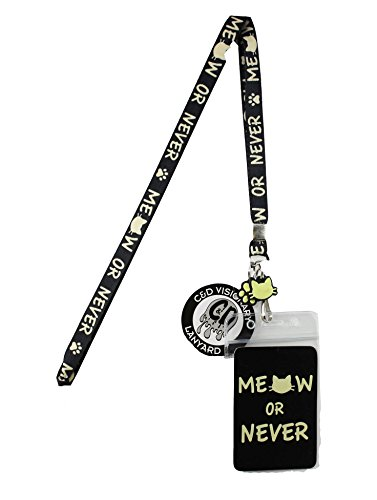 Lanyard with Charm Meow or Never' Skinny Lanyard with Rubber Charm