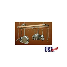 J.K. Adams 39-Inch-by-13-Inch Hardwood Ceiling Pot Rack, 8-Pot Hooks and 4-Utensil Hooks Included, Natural