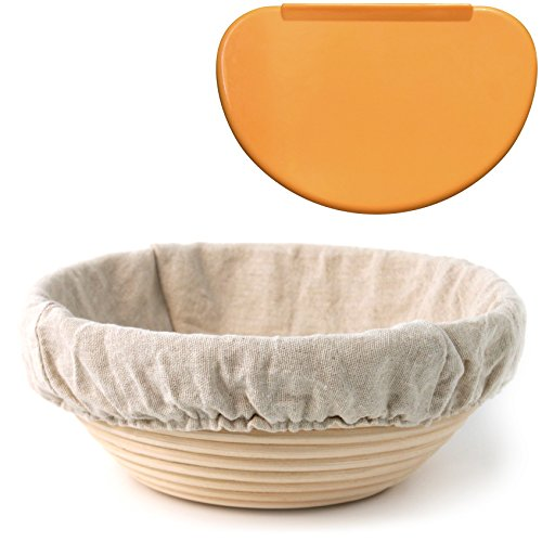 "Indigo True Company 8.5"" Round Banneton Proofing Basket with Cloth Liner and FREE Flexible Bowl Scraper for Shaping Dough"