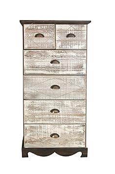 Rebecca Srl Armario Comoda 6 Cajones Madera Marron Blanco Retro Vintage Salon Dormitorio (Cod.568cf)