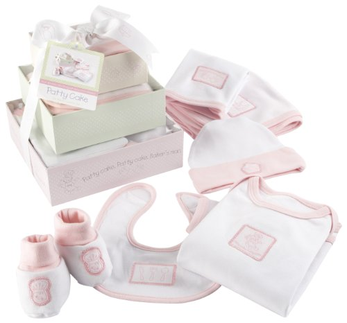 "Baby Aspen ""Patty Cake"" 6 Piece Layette Set in Keepsake Gift Box Tower, Pink, 0-6 Months"