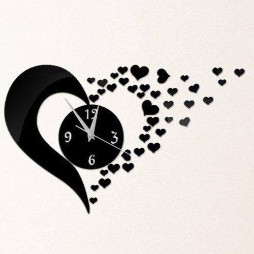 Dupin Llc (Tm) Romantic Loving Hearts Wall Clock Fashion Mirror Modern Design Diy Acrylic 3D Mirror Wall Decal Wall Sticker Decoration (Black)
