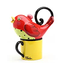 Appletree 6-7/8-Inch Ceramic Red Bird Tea For One