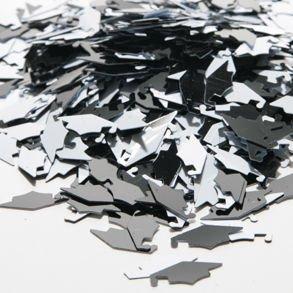 Black & White Grad Caps Confetti