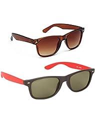 New Stylish UV Protected Combo Pack Of Sunglasses For Women / Girl ( BrownWayfarer-RedWayfarer ) ( CM-SUN-054 )