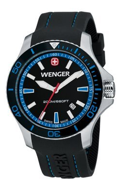 Wenger Mens Sea Force Swiss Watch w/ Black & Blue dial black & Blue Bezel Black Silicone 641.104