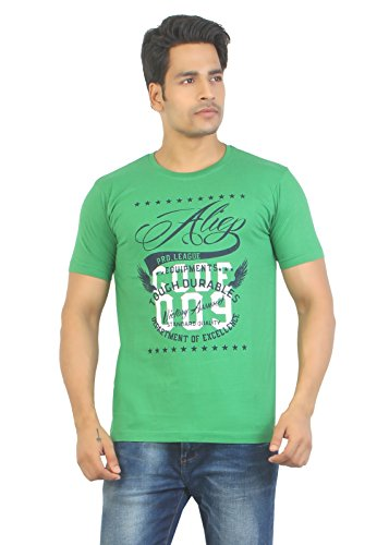 Aliep Aliep Stylish Green Printed Half Sleeves T-Shirt For Men | ALP1725 (Multicolor)