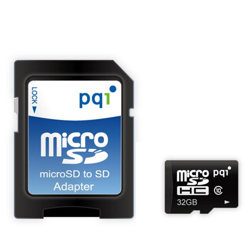 PQI microSDHCメモリカード フルHD SDアダプター付く (32GB, Class10 microSDメモリカド)