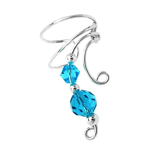 Sterling Silver Right Only Two Blue Crystals Wave Ear Cuff Wrap