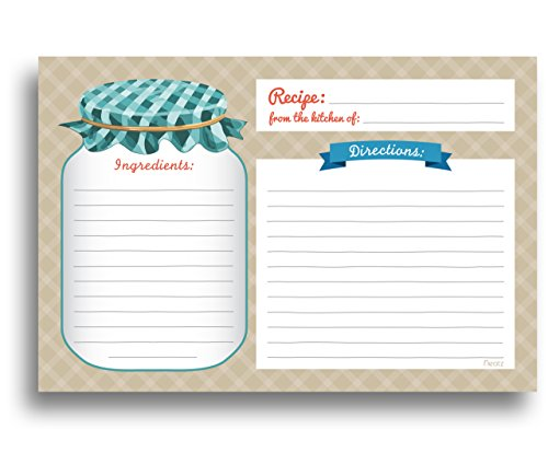 Mason Jar Recipe Cards - 50 Double Sided Cards, 4x6 inches. Thick Card Stock (Recipe Cards Lot compare prices)