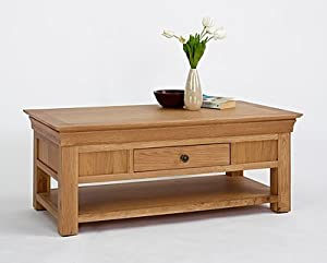 Calais Solid Oak Living Room Furniture Coffee Table With