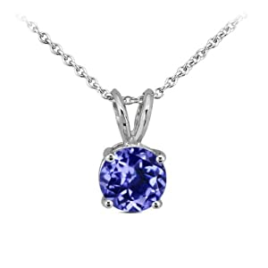 "0.12 Ct Round Natural Blue Tanzanite 14K White Gold Pendant With 18"" Chain"