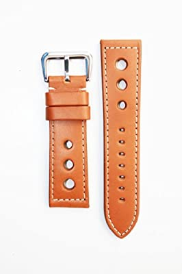 PANERAI Racing Style 20MM Tan Heavy Leather with S/S Buckle 20mm