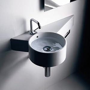 Kerasan Tao Wall Hung Bathroom Sink - Corner Bathroom Sinks - Amazon ...