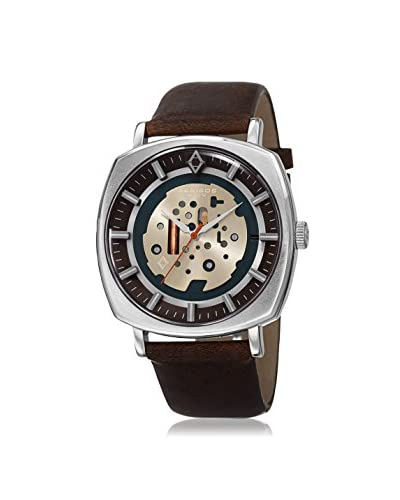 Akribos XXIV Men's AK826SSBR Silver-Tone/Brown Leather Watch