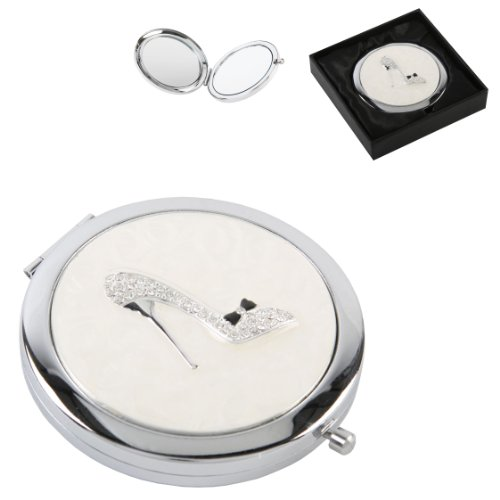 Silverplated Ladies Compact Mirror With Crystal