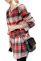 (ボヌール)BONHEUR ワンピース チュニック 大人 チェック 柄 七分袖 カジュアル かわいい 可愛い きれいめ M サイズ レディース 赤 白