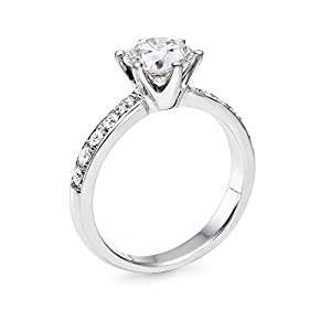 Diamond Engagement Ring in 14K Gold / White Certified, Round, 0.76 Carat, E Color, SI1 Clarity