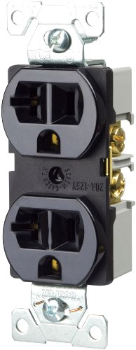 Cooper Wiring Devices Br20Bk-Sp-L 20-Amp, 125-Volt Commercial Grade Straight Blade 3-Wire Duplex Receptacle, Black