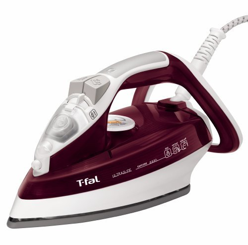 T-fal FV4446 Ultraglide Easycord Steam Iron Ceramic Scratch Resistant Non-Stick Soleplate with Auto-Off, 1700-Watt, Red