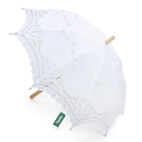 TOPTIE Lace Umbrella, Battenburg Lace Parasol, Christmas Gift Idea WHITE