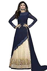 SK Creation Shilpa Shetty Anarkali Dress In Cobalt Blue Semi stitched lehenga style Anarkali suit