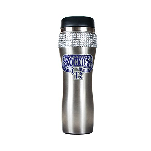 Great American Product MLB Colorado Rockies 14oz Stainless Steel Bling Travel Tumbler Stainless Steel Silver