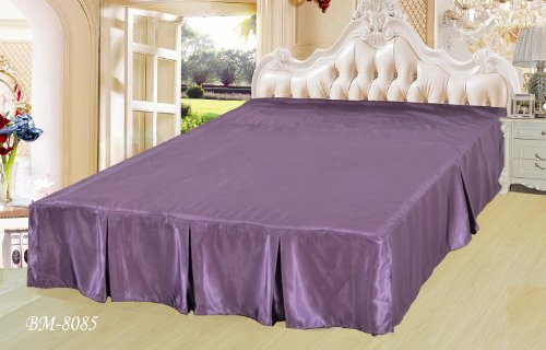 Dada Bedding Quinceanera Satin Bed Skirt, California King, Plum front-771256