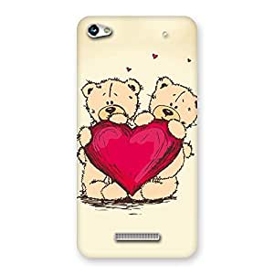 Delighted Cute Heart Twin Teddy Back Case Cover for Micromax Hue 2