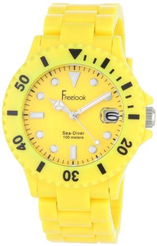 Freelook Women's HA1431-2 Sea Diver Neon Yellow Band Yellow Dial Watch