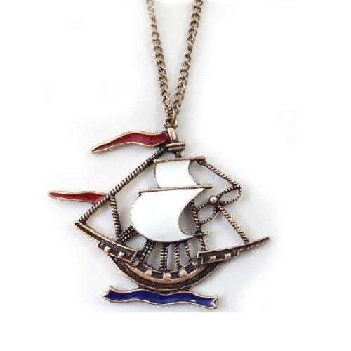 Caribbean Pirate Ship Vintage Bronze Pendant Nautical Punk Sweater Y Necklace