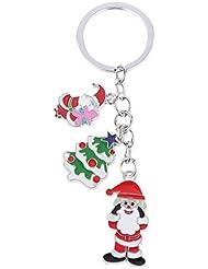 Magideal Silver Metal & Enamel Christmas Tree Santa Claus Charm Key Ring Keychain