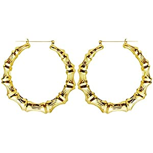 """Old School Style 2.5"""" Bamboo Hoops Hoop Earrings, in Gold Tone"""
