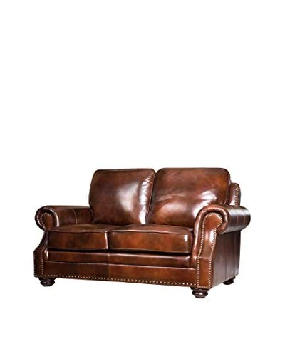 Abbyson Living Karington Hand Rubbed Leather Loveseat, Tobacco Brown
